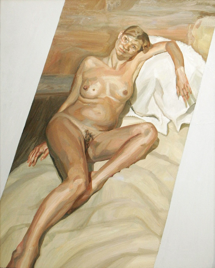 A portrait of British model Kate Moss by British artist Lucien Freud is seen at Christie's auctionee..